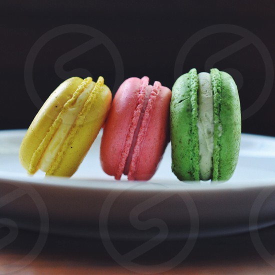 green pink and yellow macaroons photo