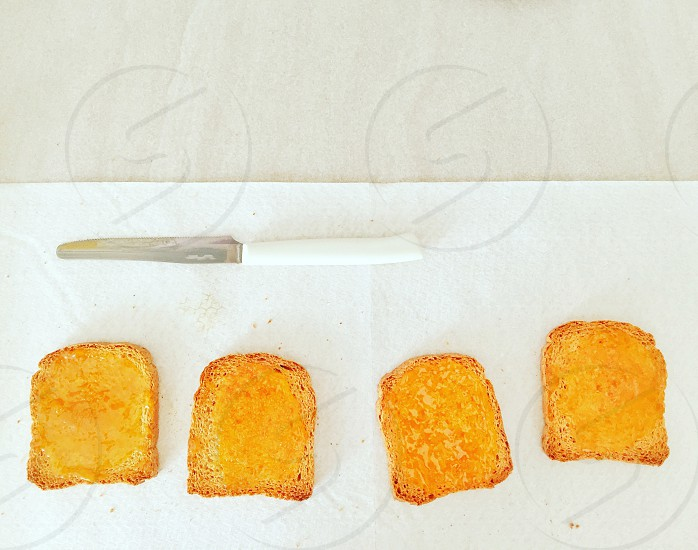 morning breakfast with healthy crispy bread with jam photo