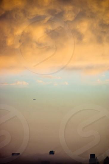 Dallas Texas Sky storm fog clouds airplane skyline silhouette downtown  photo