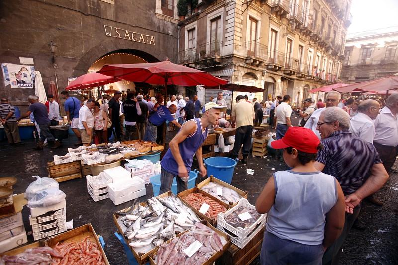 Europa Italien Sizilien CataniaDer traditionelle Fischmarkt in der Altstadt von Catania an der Mittelmeer Kueste im osten von Sizilien.       (Urs Flueeler)  photo