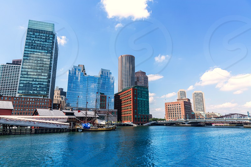 Boston Massachusetts skyline from Fan Pier in USA photo