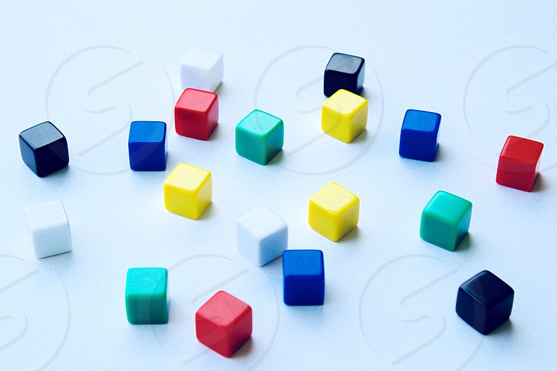 Colorful cubes on a white background photo
