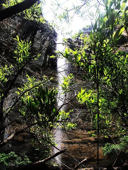 Waterfall Hemmed in Hollow Arkansas Hiking Trails Water Light photo