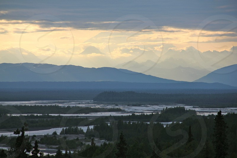 mountain and lake overlook photo