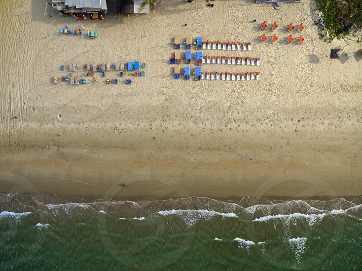 Drone aerial view from above of beautiful beach in Thailand photo