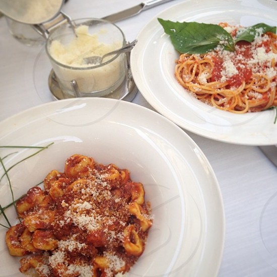 Tortellini bolognese and spaghetti for dinner in the heart of Florence! photo