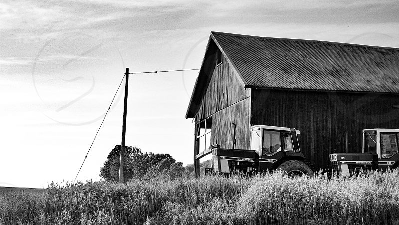 Farm tractor black and white country living  photo