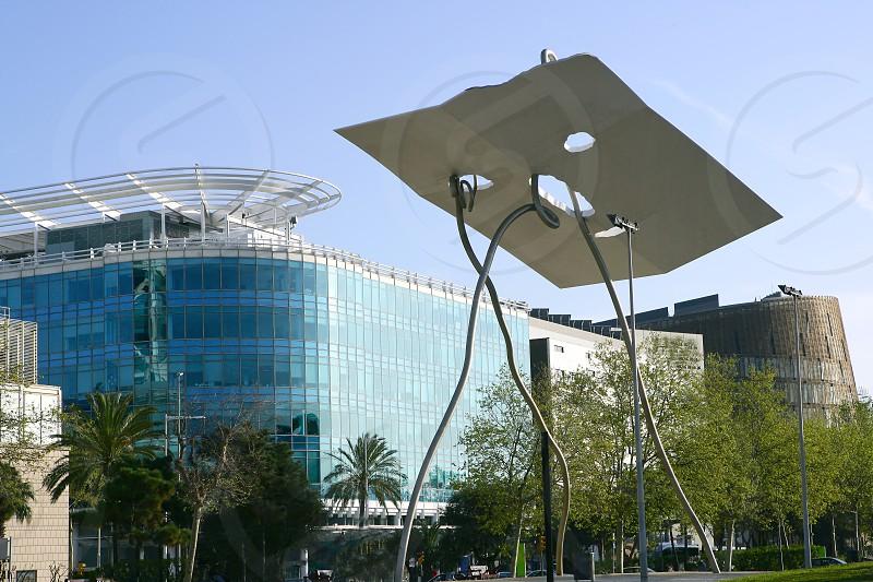 Barcelona city sculpture David Goliat of Antoni Lena photo