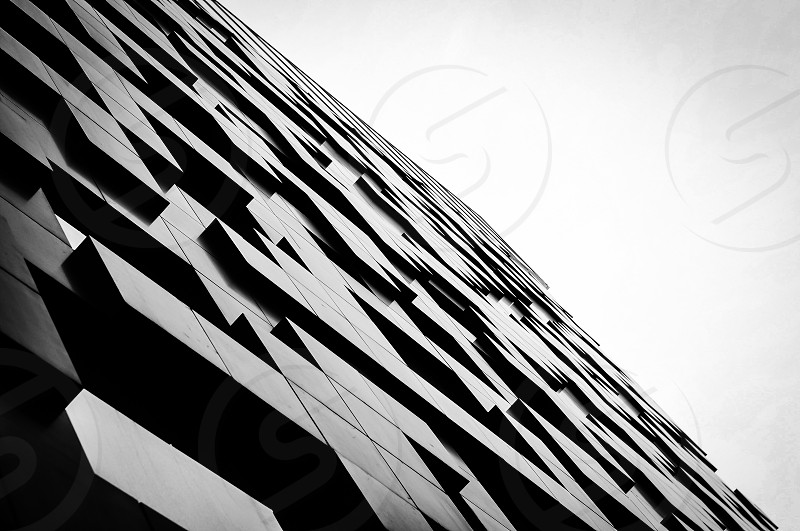 black and grey square embossed wall photo