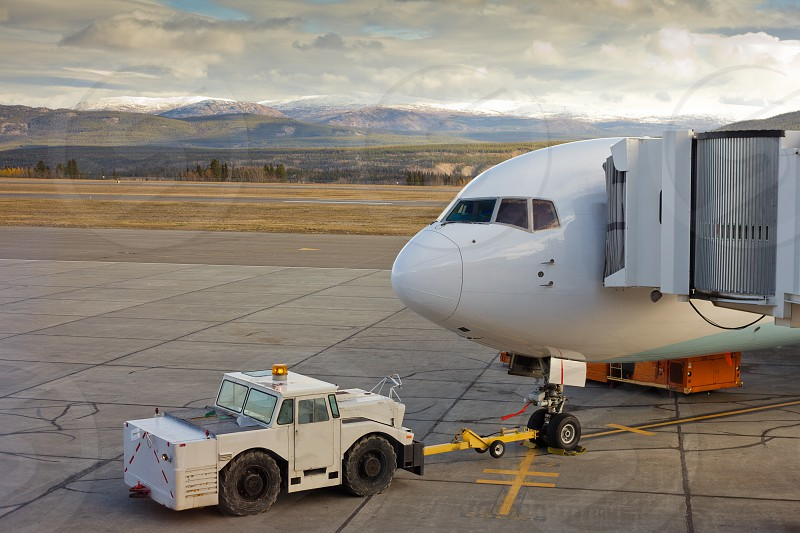 Large airliner ready for boarding on Whitehorse international airport Yukon Territory Canada photo