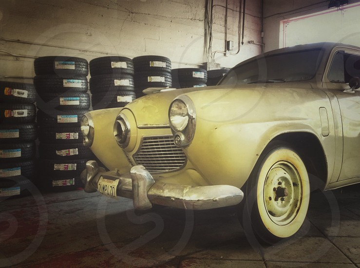 beige vintage car  photo