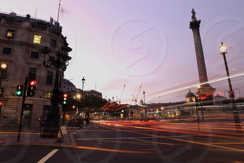 Charring Cross Square; Trafalgar Square; london; uk; england; travel; night; shot; light trails; traffic; cars; movement; traffic; moving; motion; photo
