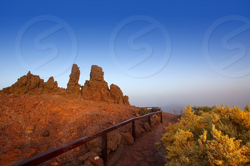 Roque de los Muchachos stones in Caldera Taburiente La Palma at Canary Islands photo