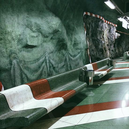 stockholm sweden train station underground art red green swedish railway metro Kungsträdgården  photo