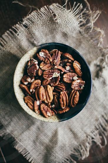 Pecans nuts nut pecan dish bowl food photo