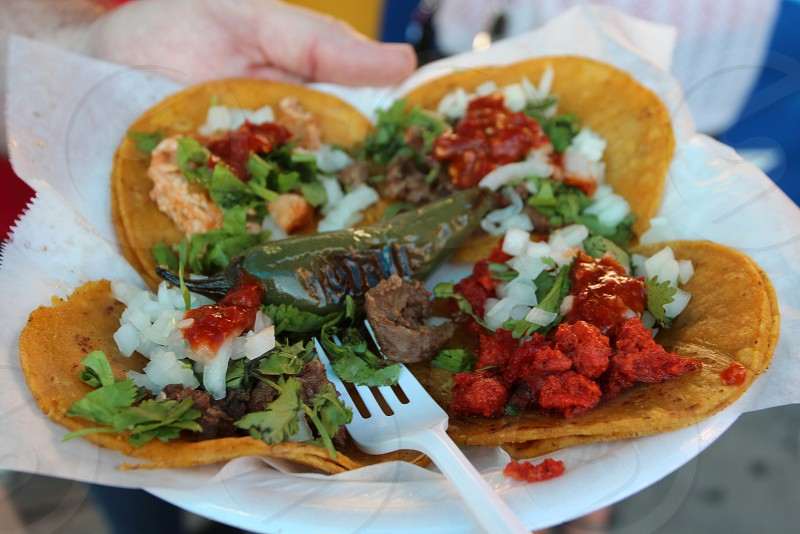 Mini taquito tacos with peppers and vegetables  state fair food photo