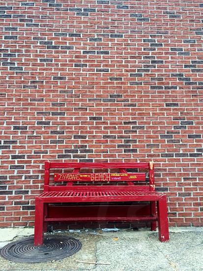 Brick wall bench sidewalk pattern  photo