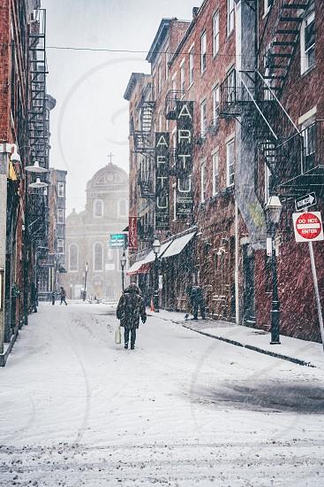 Snowy day in Boston MA photo
