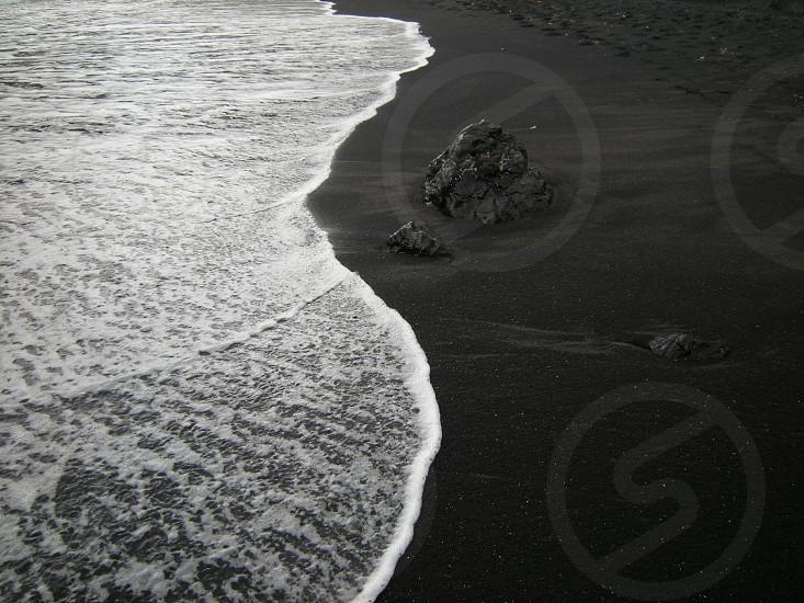 Maui Road to Hana Black sand beach tide photo