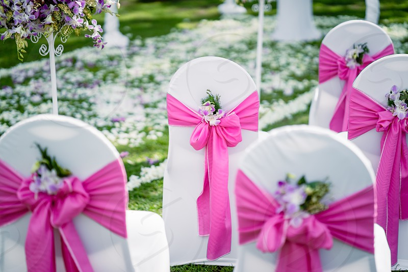 The wedding venue The chairs with white lawn cover decorated in pink theme with the cone of rose and patels for tossing over the newly weds as their walk up the aisle. photo