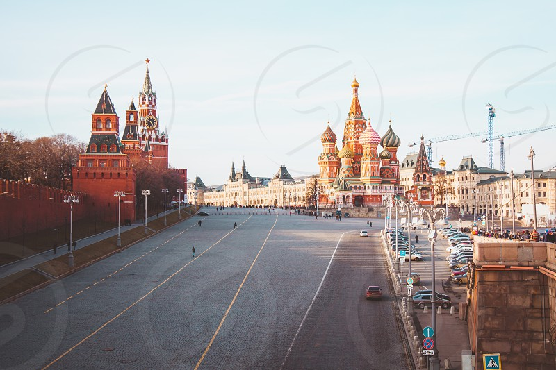 Red square of Moscow Russia. Kremlin and Saint Basil's Cathedral. photo