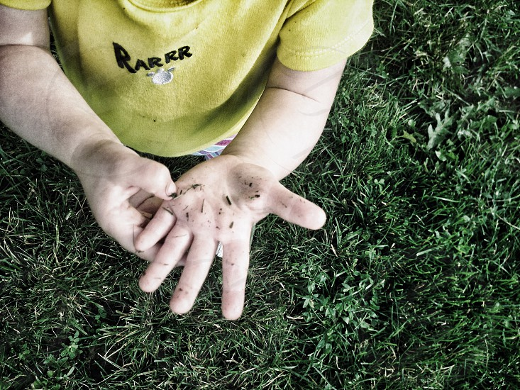 baby kid toddler child hands dirt dirty outside play outdoors grass yellow green  photo