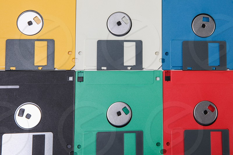 Colored floppy disc background photo