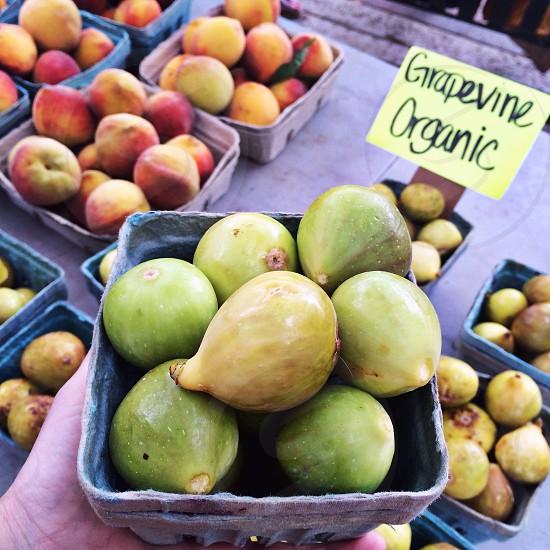 Fresh organic green figs at a farmers market.  photo