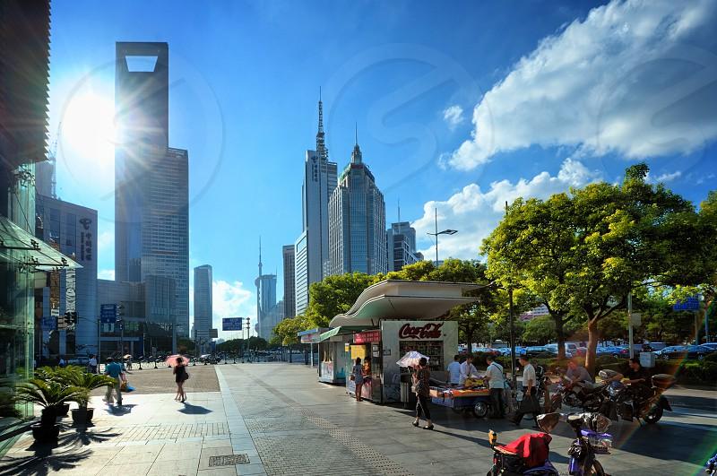 Shanghai Bund great blue sky photo