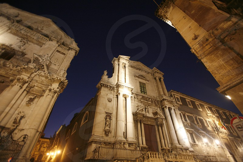 the city centre in the old Town of Catania in Sicily in south Italy in Europe. photo