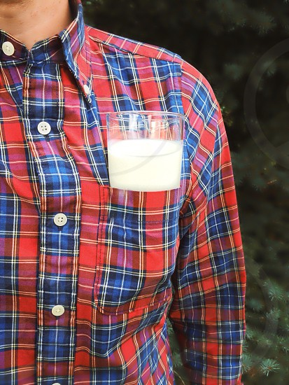 Plaid is manly. So is milk. Lumberjacks have known this for hundreds of years.  photo