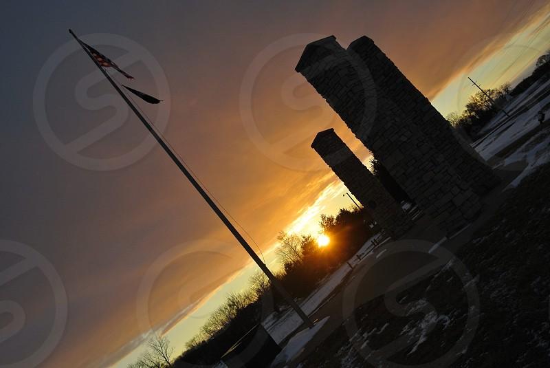 Stoney Run county park flag sunrise snow photo