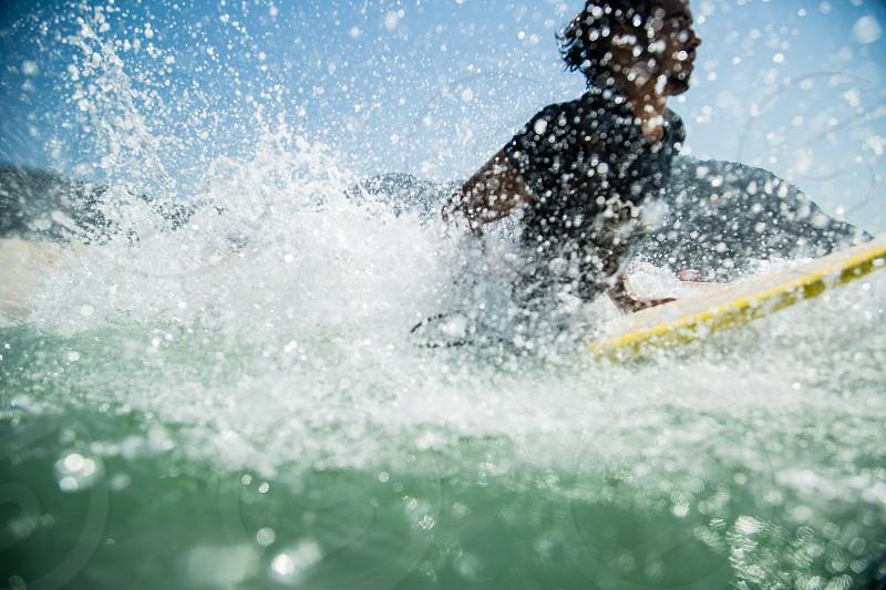 Surf session on Barra beach Rio de Janeiro Brazil. photo