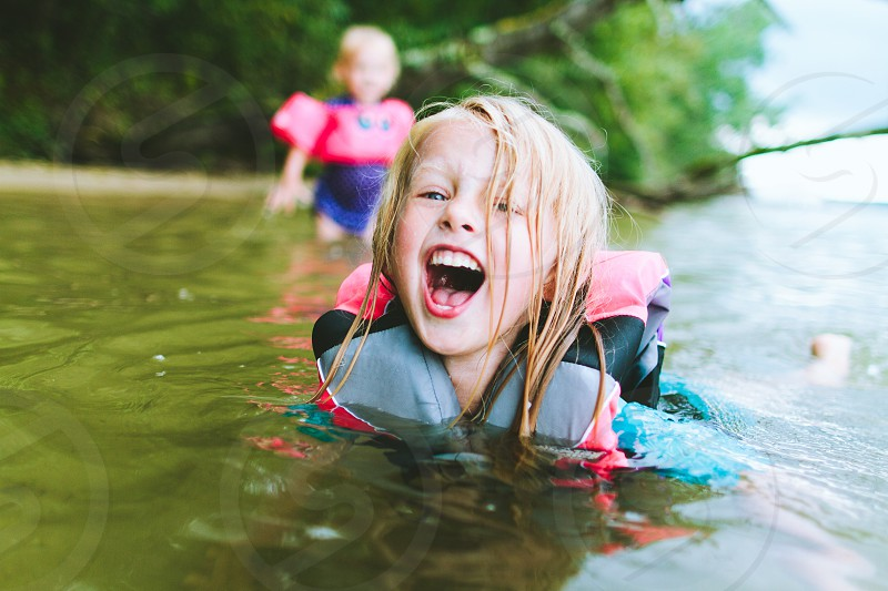 Minnesota lake swimming fun family kids photo
