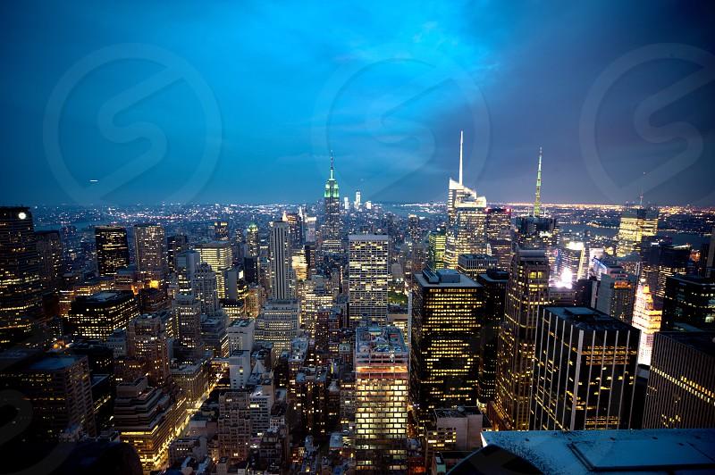 city building skyline at night  photo
