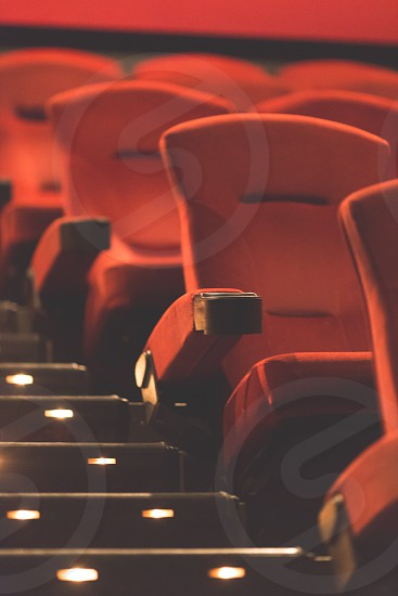 Empty seats at the movie theater vertical orientation photo