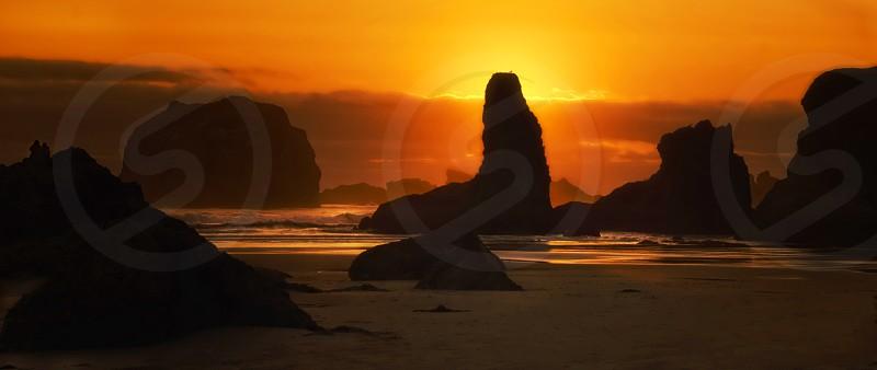 Sunset at BandonOregon photo