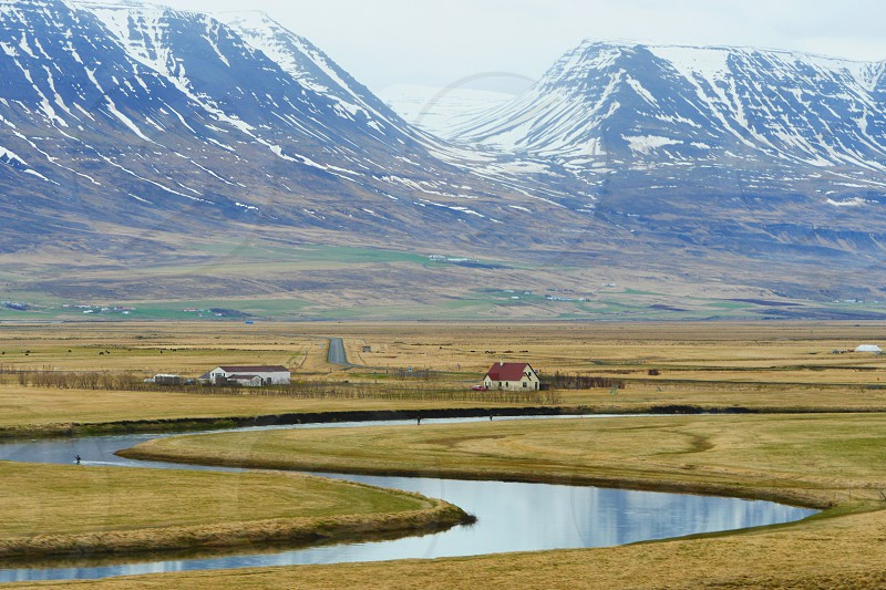 Iceland - River Field Fly Fisher Curve photo
