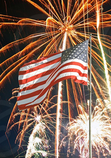 Fourth of July American flag fireworks photo