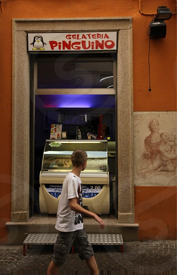 a icecream shop in the old town of Pallanza near to Verbania on the Lago maggiore in the Lombardia  in north Italy.  photo