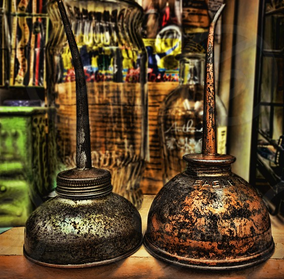 old metal oil cans photo