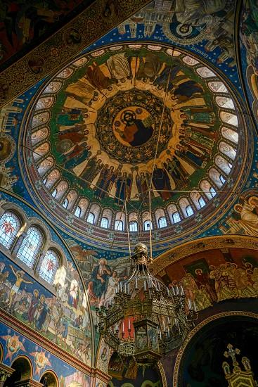 SIBIU TRANSYLVANIA/ROMANIA - SEPTEMBER 16 : Interior view of the Holy Trinity Cathedral in Sibiu Transylvania Romania on September 16 2018 photo