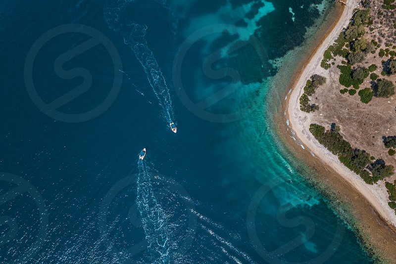 Aerial view of the tropical lagoon in Aegean sea photo