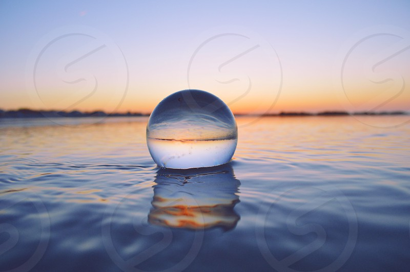 Crystal Ball floating in the ocean outside of Rockport MA.  photo