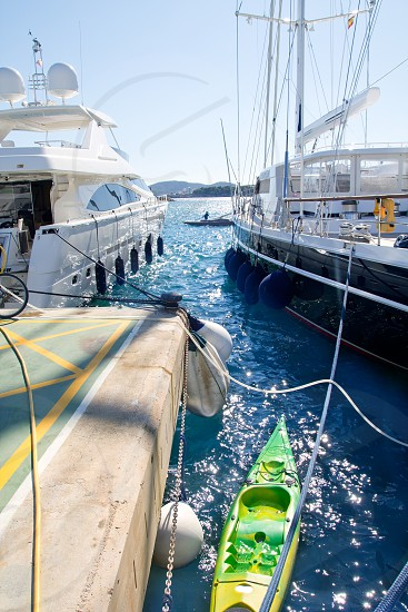 Calvia Puerto Portals Nous luxury yachts in Mallorca Balearic island from Spain photo
