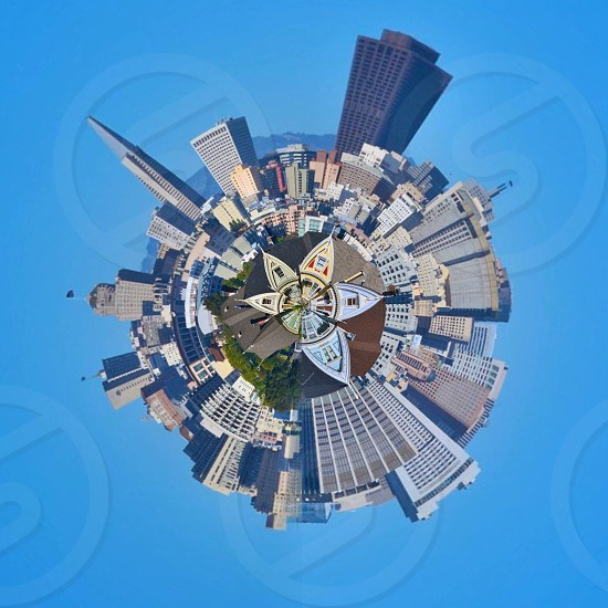 top view of white buildings in a circular formation illustration photo