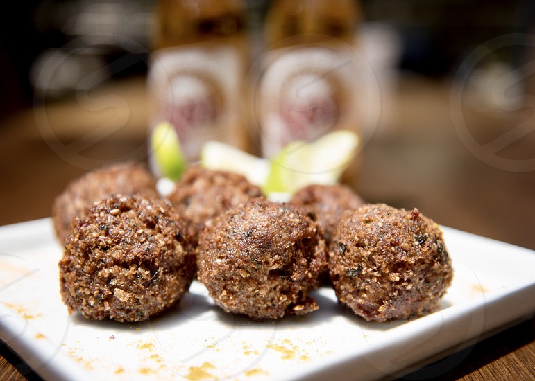 Delicious fried meat balls photo