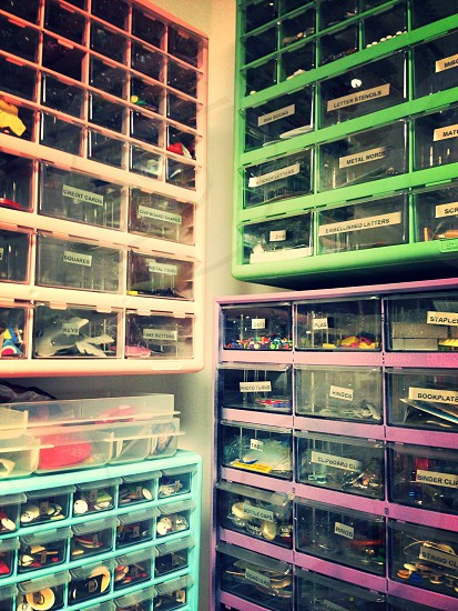 view of assorted colored cabinets photo