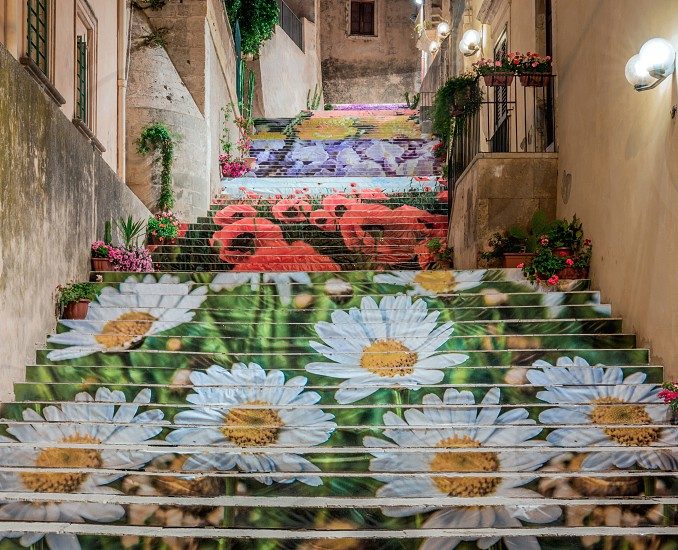 Noto Sicily flight of steps in flower photo