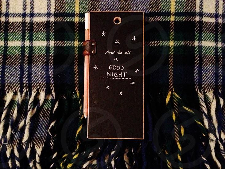 To all a good night wool blanket chalkboard handwriting handwritten Christmas phrase photo